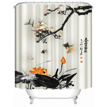 Chinese Ink Painting Waterproof Shower Curtain