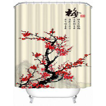 Chinese Plum Blossom Ink Painting Waterproof Shower Curtain