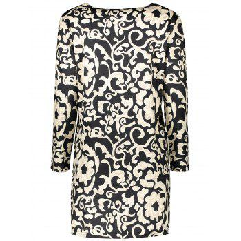 Plus Size Paisley Sheath Dress With Pocket - BLACK BLACK