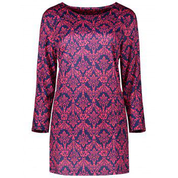 Plus Size Printed Mini Sheath Dress With Pocket - ROSE RED ROSE RED