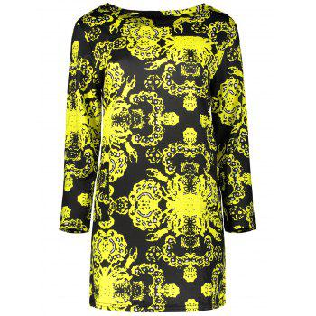 Plus Size Long Sleeve Printed Dress - BLACK BLACK