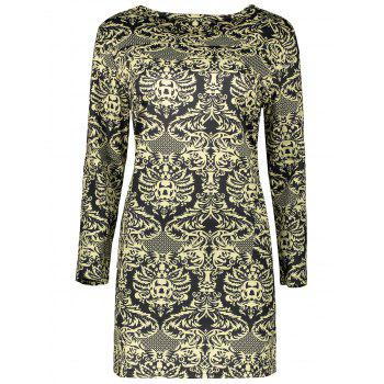 Plus Size Long Sleeve Paisley Dress