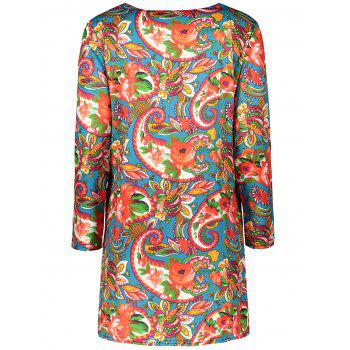 Plus Size Colorful Print Long Sleeve  Dress - LIGHT RED LIGHT RED