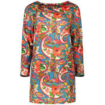 Plus Size Colorful Print Long Sleeve  Dress