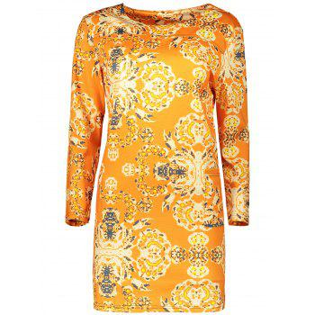 Plus Size Long Sleeve Fitted Dress - ORANGE ORANGE