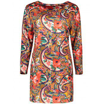 Plus Size Retro Long Sleeve Floral Dress