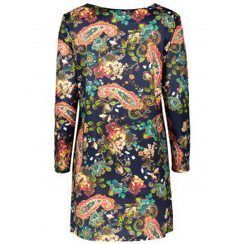Plus Size Retro Long Sleeve Paisley Dress - PURPLISH BLUE PURPLISH BLUE