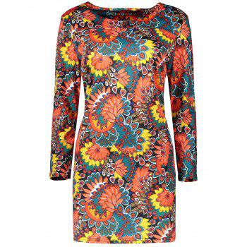 Plus Size Flower Dress With Pocket - MULTICOLOR 2XL