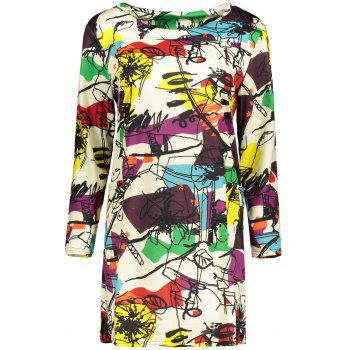 Plus Size Abstract Graffiti Mini Dress - OFF-WHITE OFF WHITE