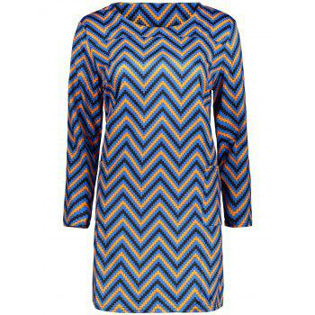 Plus Size  Colored Zigzag Sheath Dress - BLUE 2XL