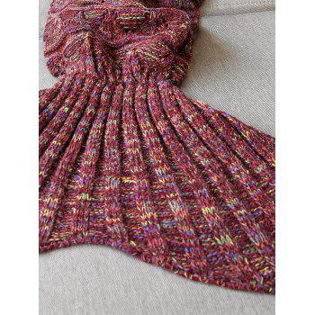 Hollow Out Triangle Crochet Knit Mermaid Blanket Throw - WINE RED