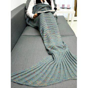 Hollow Out Crochet Knit Wave Striped Mermaid Blanket Throw