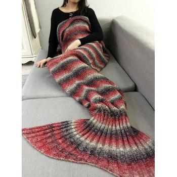 Chunky Crochet Knit Ombre Striped Mermaid Blanket Throw - RED