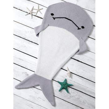Color Block Knitted Dolphin Shape Blanket Throw For Baby