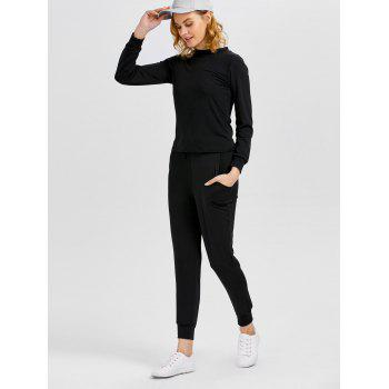 Sports T-Shirt With Drawstring Jogger Pants - BLACK BLACK