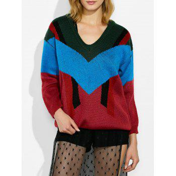 Drop Shoulder Color Block Jumper Sweater