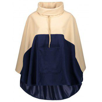 Kangaroo Pocket Color Block Drawstring Cape Coat