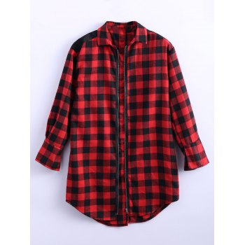 Zipper Slit Long Plaid Oversized Flannel Shirt