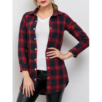 Boyfriend Style Button Up Plaid Shirt