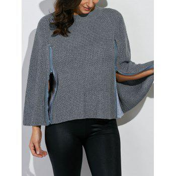 Zipper Design Poncho Sweater