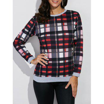 Crew Neck Plaid Sweatshirt