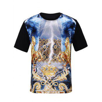 Crown Symmetrical Print Silk Imitation Trippy T-Shirt
