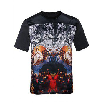 Symmetrical Figure Print Silk Imitation Trippy T-Shirt