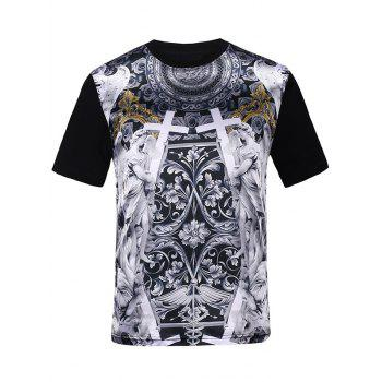3D Symmetrical Cross Print Silk Imitation Trippy T-Shirt