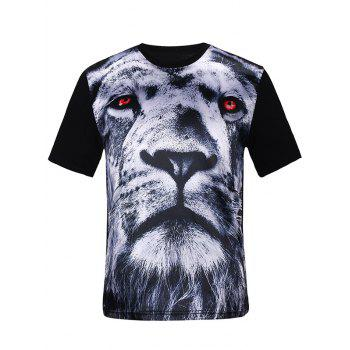 3D Tiger Print Silk Imitation T-Shirt