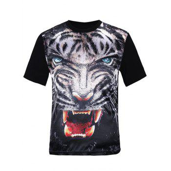 3D Fierce Tiger Print Silk Imitation T-Shirt