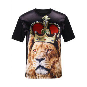 3D Crown Lion Print Silk Imitation T-Shirt