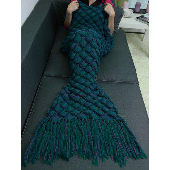 Soft Fish Scales Tassel Design Crochet Mermaid Tail Blanket