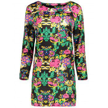 Plus Size Printed Long Sleeve Dress With Pocket - BLACK 2XL