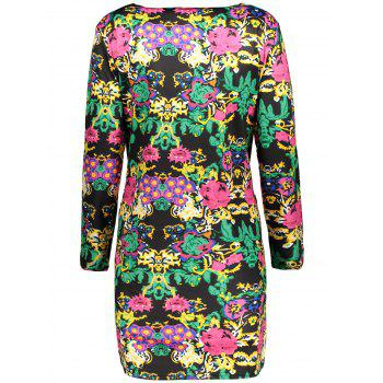 Plus Size Printed Long Sleeve Dress With Pocket - 2XL 2XL