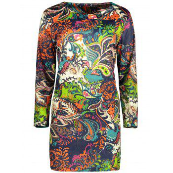 Plus Size Printed Mini Dress With Pocket