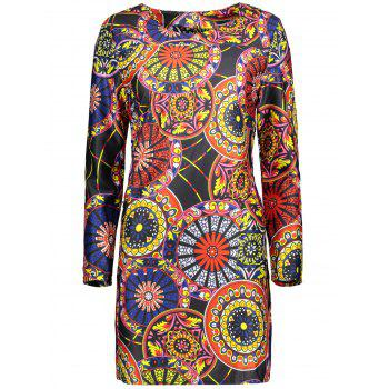 Plus Size Round Pattern Mini Dress With Pocket