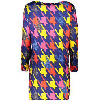 Plus Size Colored Houndstooth Mini Dress - 3XL 3XL
