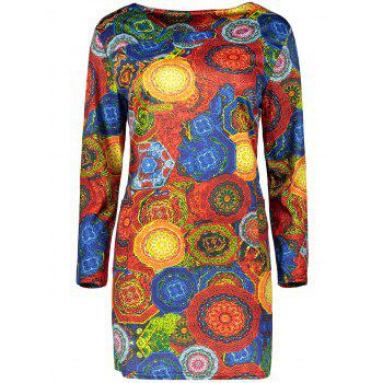 Plus Size Illusion Patterned Sheath Dress