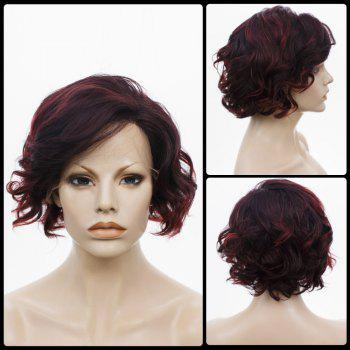 Side Bang Short Curly Highlight Lace Front Human Hair Wig - COLORMIX COLORMIX