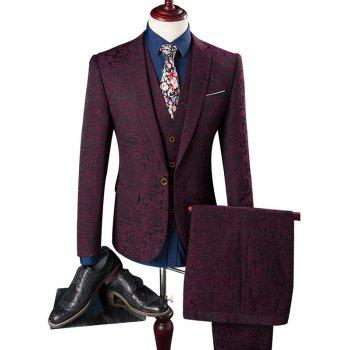 Pocket Texture One Button Three Piece Suit