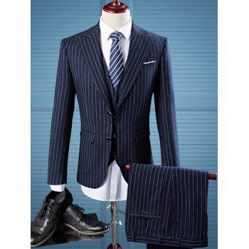 Single Breasted Pocket Striped Three Piece Suit