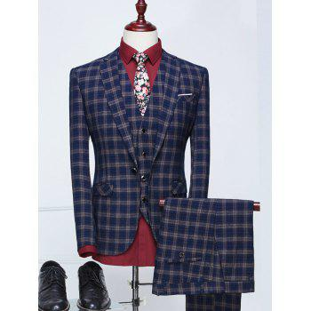 Single Breasted Pocket Plaid Three Piece Suit