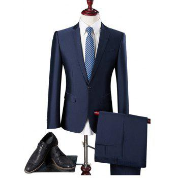 Pocket Notch Lapel One Button Blazer and Pants Twinset