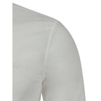 Long Sleeves Embroidered Button Down Shirt - WHITE WHITE