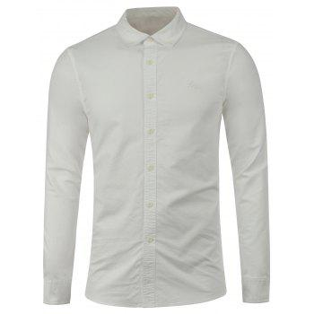 Long Sleeves Embroidered Button Down Shirt - WHITE M