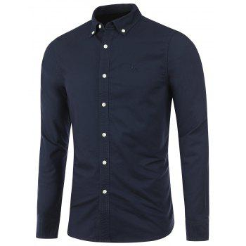 Long Sleeves Embroidered Button Down Shirt - CADETBLUE S