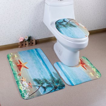 3Pcs Sea Antislip Toilet U Shape Rug Lid Cover Carpet Set