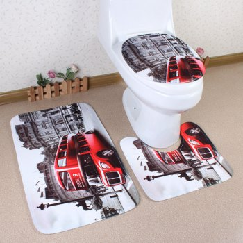 3Pcs Europe Style Antislip Toilet U Shape Rug Lid Cover Carpet Set - COLORMIX COLORMIX