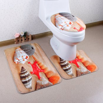 3Pcs Beach Shell Antislip Toilet U Shape Rug Lid Cover Carpet Set