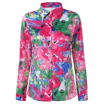 Button Up Fitted Printed Long Sleeve Shirt